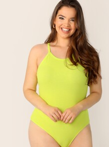 Plus Neon Yellow Ribbed Halterneck Bodysuit