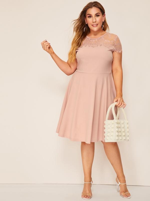 7bdc2e3c5c Plus Floral Lace Yoke Fit & Flare Dress   SHEIN IN