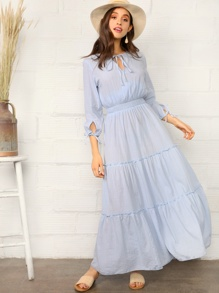 Tie Neck & Cuff Frill Trim Tiered Dress