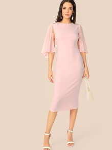 Cloak Sleeve Solid Pencil Dress