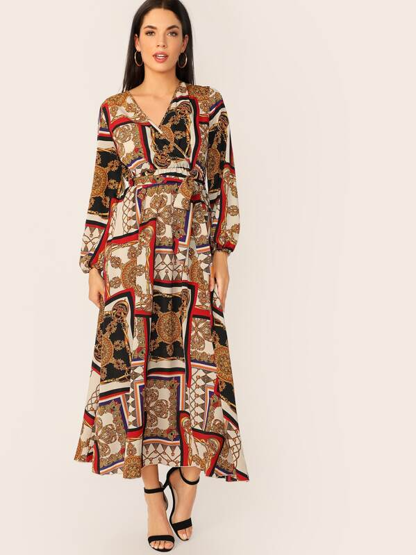 real quality best really comfortable Scarf Print Surplice Neck Belted Maxi Dress