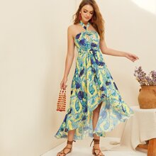 Tropical Print Asymmetrical Hem Belted Halter Dress