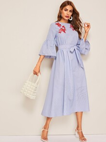 Embroidered Detail Flounce Sleeve Striped Dress