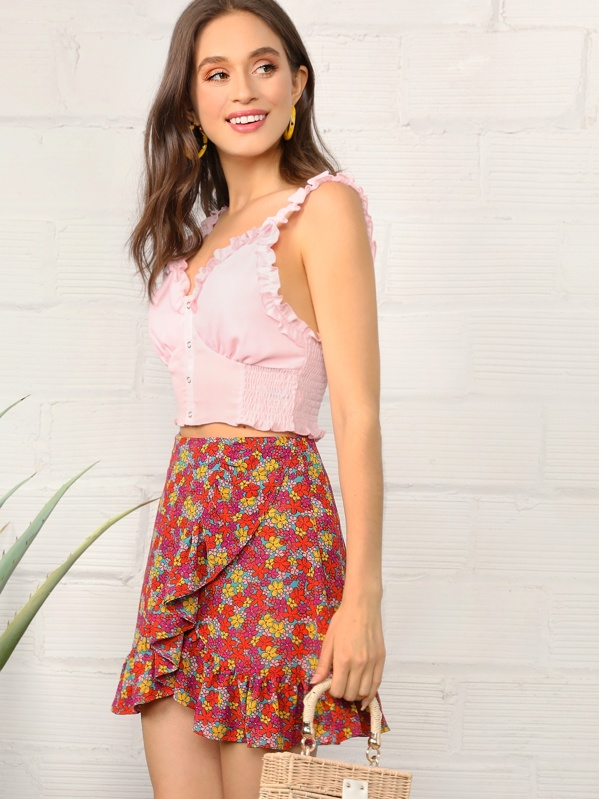 ac0c611f8376d2 Ruffle Detail Ditsy Floral Wrap Skirt | SHEIN UK