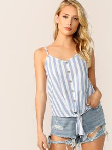 Button Detail Knot Hem Striped Cami Top
