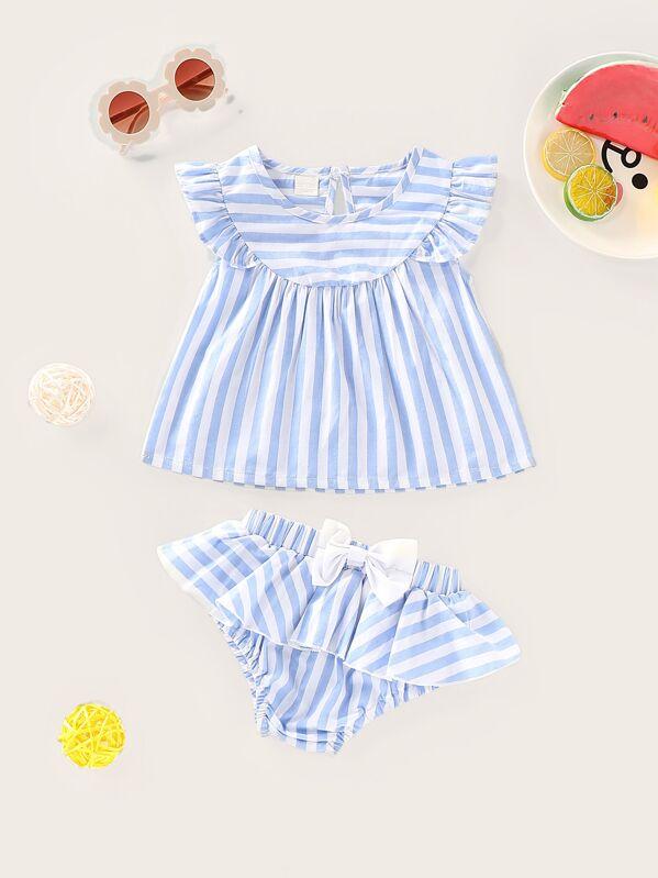 3a91c0670f Baby Ruffle Trim Stripe Top & Shorts | SHEIN