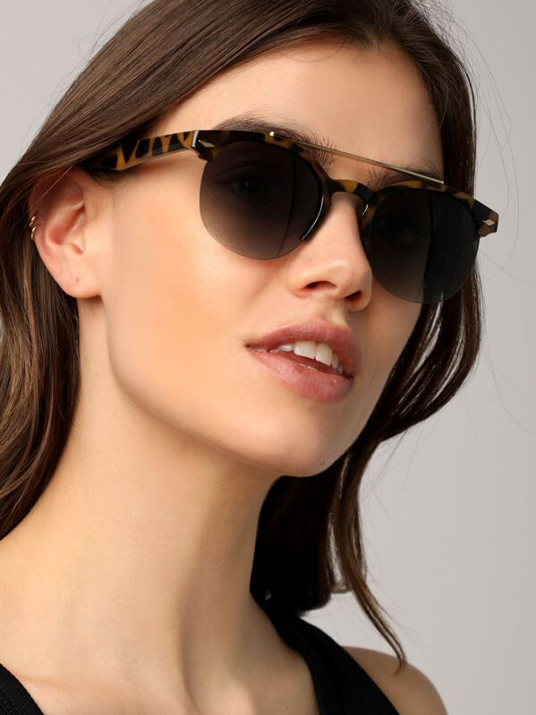 a8156539bd7ce Tortoise Aviator Clubmaster Style Round Sunglasses