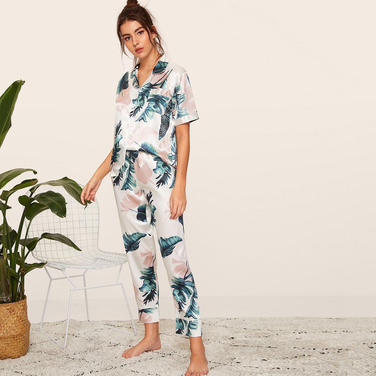 Комплект Атласная пижама с тропическим принтом