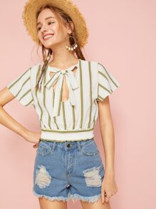 V-cut Striped Shirred Hem Tie Front Blouse