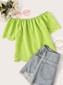 Neon Green Laser Cut Off The Shoulder Blouse