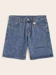 Guys Ring Detail Letter Embroidery Denim Shorts