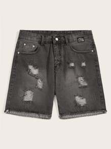 Guys Button And Pocket Detail Ripped Denim Shorts