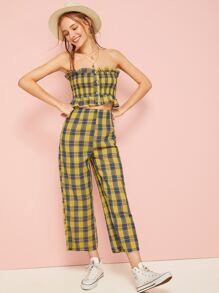 Plaid Print Shirred Bandeau Top With Pants