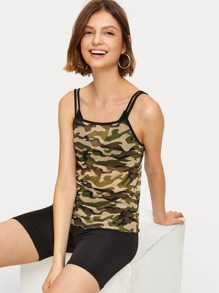 Camouflage Print Sheer Cami Top