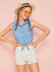 Knot Hem Sleeveless Crop Blouse