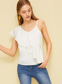 Ruffle Asymmetric Shoulder Blouse
