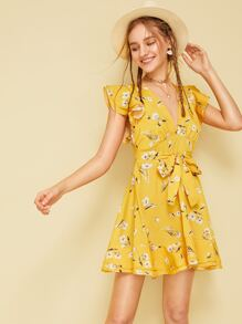 Floral Print Knot Front Ruffle Dress