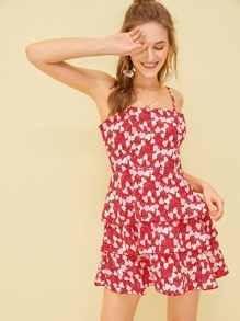 Allover Strawberry Print Tiered Layer Slip Dress