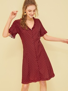 Frill Trim Polka Dot Tea Dress