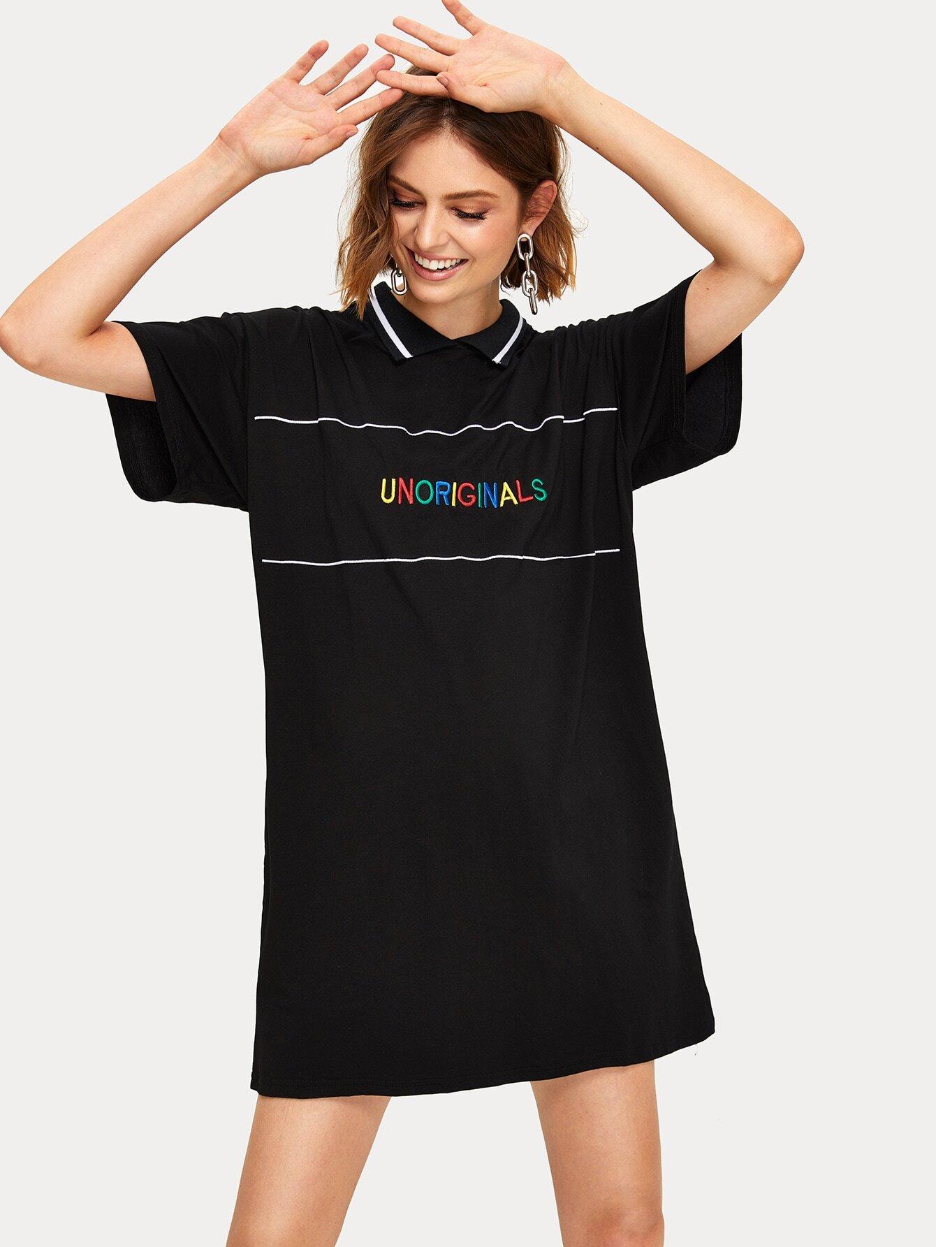 999260cdb8 Letter Embroidery Shift T-shirt Dress EmmaCloth-Women Fast Fashion ...
