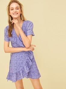 Ditsy Floral Print Ruffle Hem Wrap Dress