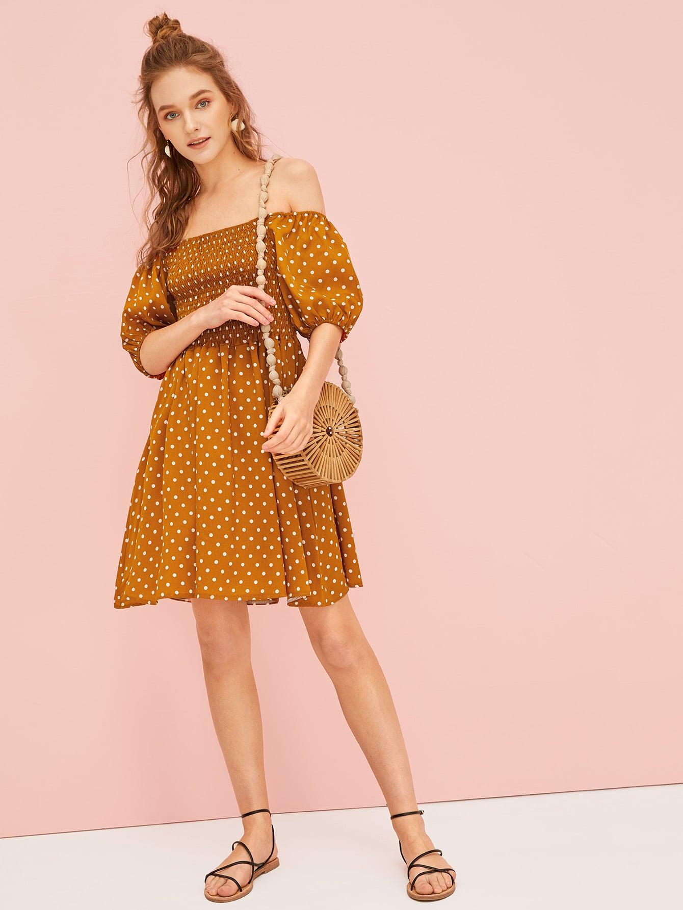 8389bae35de Polka Dot Shirred Swing Dress EmmaCloth-Women Fast Fashion Online