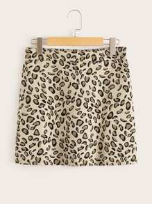 Leopard Print Zipper Skirt