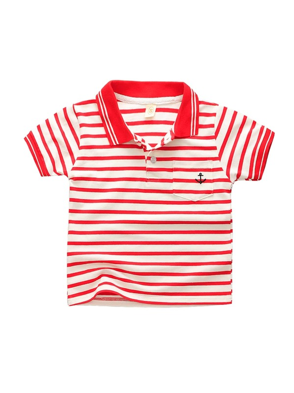 f54eb2eac1 Cheap Toddler Boys Anchor Embroidery Striped Polo Shirt for sale Australia  | SHEIN