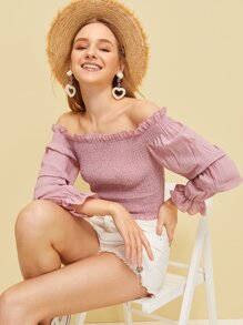 Frill Trim Shirred Bardot Blouse