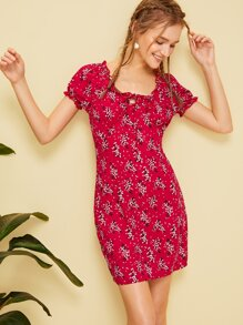 Ditsy Floral Frill Trim Dress