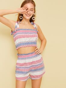 Frill Trim Stripe Cami Top & Shorts
