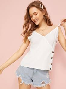 Button Side Solid Cami Top