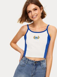 Contrast Panel Embroidered Cami Top