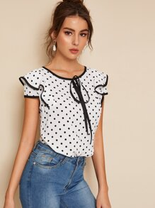 Polka Dot Piping Trim Blouse