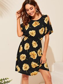 Floral Print Open Shoulder Elastic Waist Dress