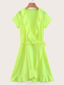 Neon Lime Ruffle Trim Belted Wrap Dress