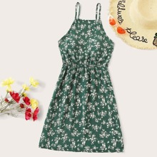 Calico Print Knot Back Elastic Waist Cami Dress