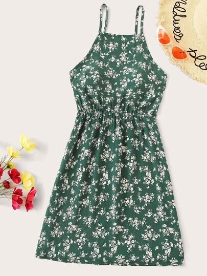 9db6b1a062b9 Calico Print Knot Back Elastic Waist Cami Dress