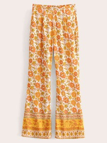Zip-up Floral Print Pants