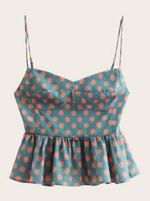 Polka Dot Peplum Cami Top