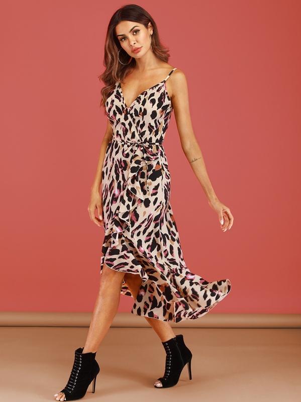 3dadf7cabf3 Leopard Surplice Ruffle Trim Belted Cami Dress