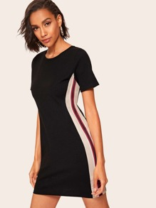 Ribbed Cut And Sew T-shirt Dress