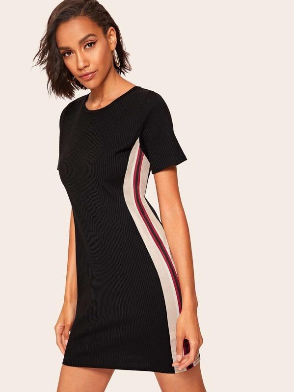 7e7fa9ada71 Ribbed Cut And Sew T-shirt Dress