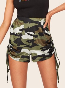 Camo Print Drawstring Side Shorts
