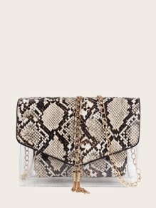 Tassel Decor Flap Snakeskin Bag