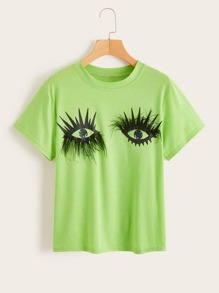 Eye Print Feather Detail Tee