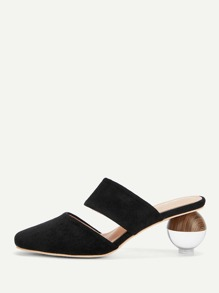 Cut Out Heeled Mules