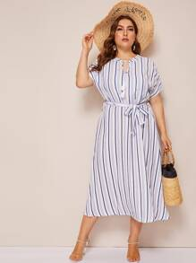 Plus Tassel Knot Striped Dress