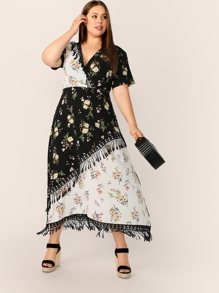 Plus Surplice Front Fringe Floral Print Dress