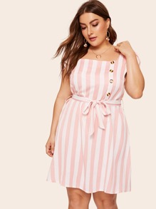 Plus Button Striped Belted Dress